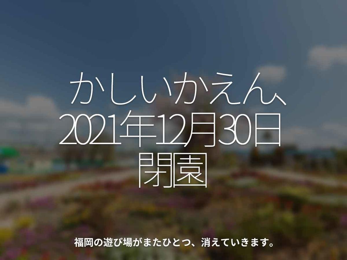 「かしいかえん、2021年12月30日閉園」福岡の遊び場がまたひとつ、消えていきます。【適材適食】小園亜由美(管理栄養士・野菜ソムリエ上級プロ)糖尿病専門・甲状腺専門クリニック勤務@福岡姪浜・福岡天神