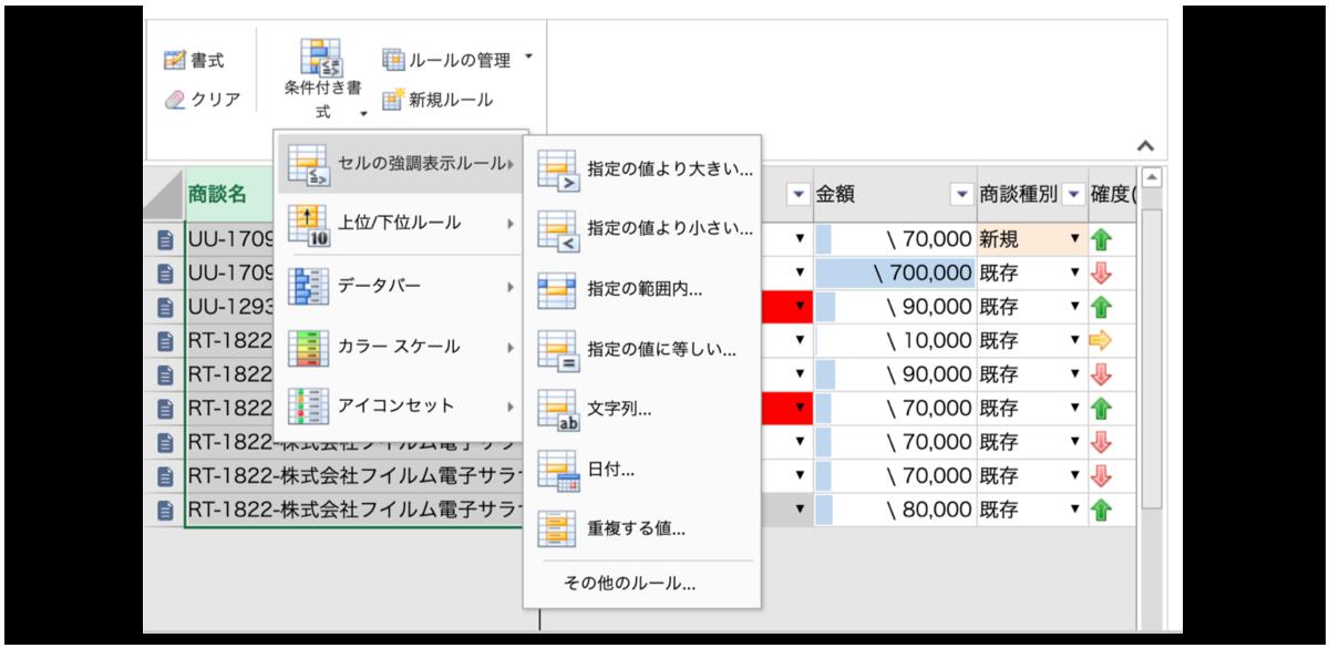 krewSheet機能-条件付き書式