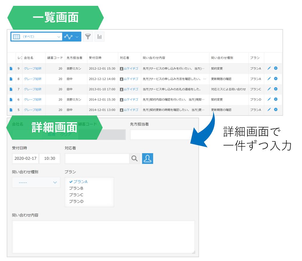 kintoneアプリの操作画面