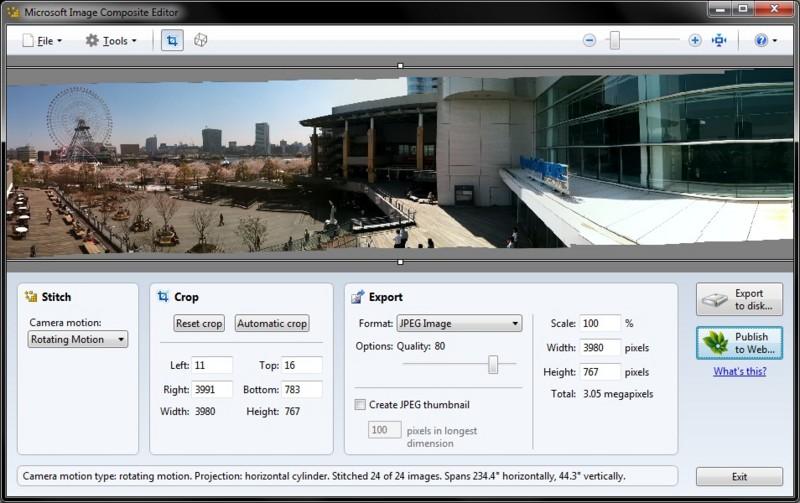 Microsoft Research の Image Composite Editor をお試し中。ビデオからパノラマ画