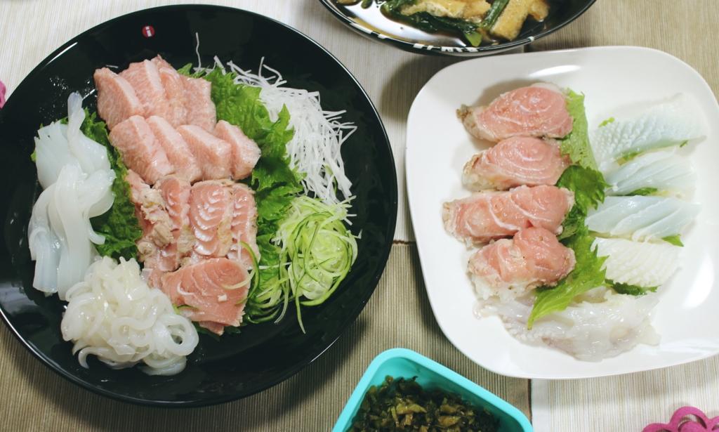 マグロ イカ 刺身 寿司 家ごはん