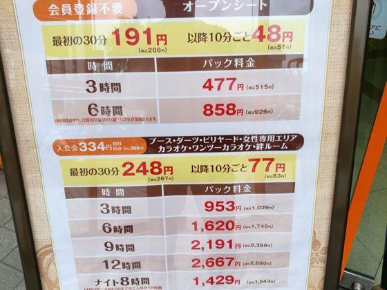 快活クラブ横浜北山田店 料金