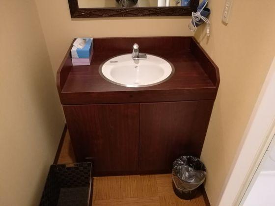 シャワールームの洗面台正面