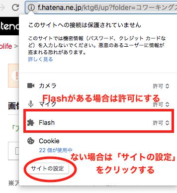 Flashを「許可」にする