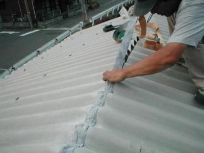 物置屋根スレート張替09棟の防水テープ.JPG