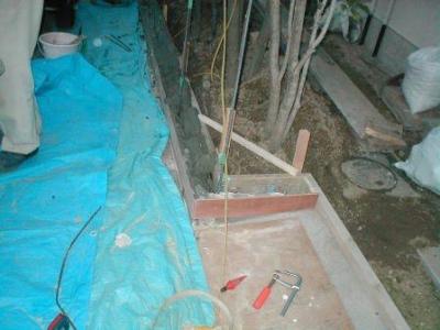 ブロック塀積み替え基礎09門柱の型枠.JPG