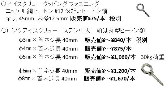 転倒防止金物類の販売価格例(ヒートン・アイスクリュー類).png