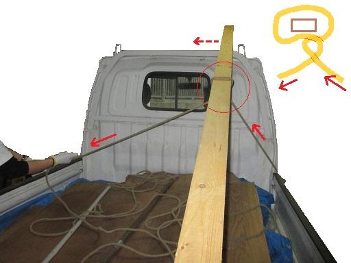 搬送基本技能 材木など単品長尺材種の荷造りロープ掛け.jpg