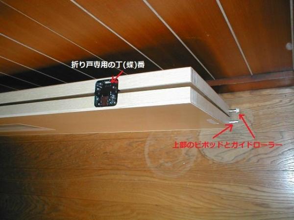 2枚折り戸の納まり?折り戸チョウバンの間境専用金物と上部ピボットの吊元ピンとガイドピン.JPG