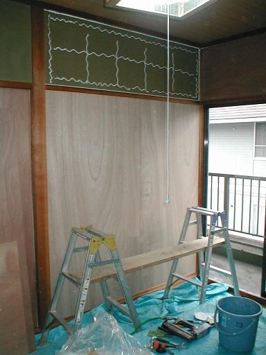 和室内壁合板下地?-6ボンド塗り例.JPG