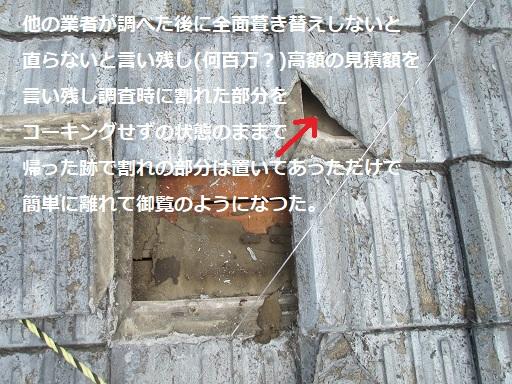 屋根修理02地瓦の割れや業者による剥がしミス跡.JPG