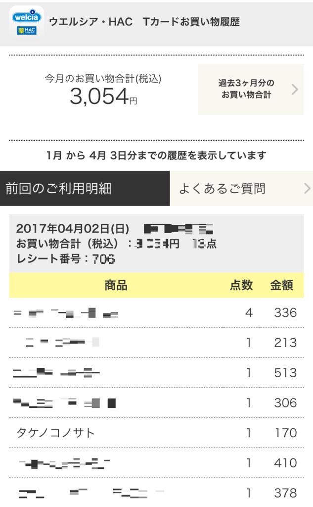 ウエルシア・HACアプリxTポイントアプリ 購入明細