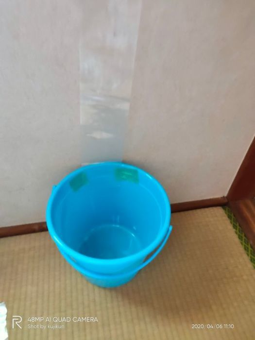 排水先のバケツを設置