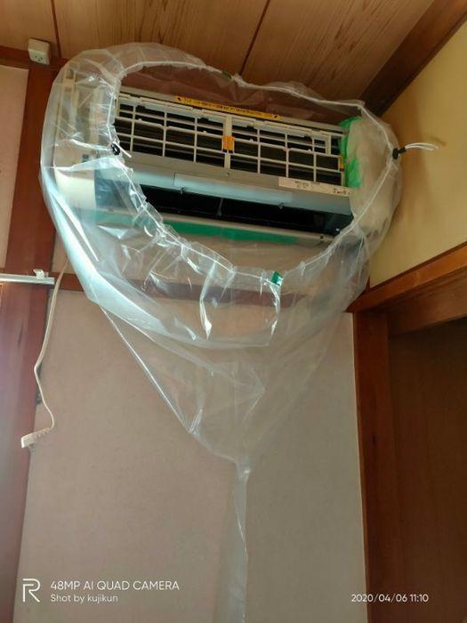 エアコン洗浄カバーで覆う