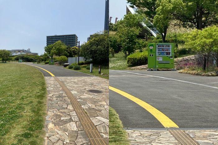 公園の道路、拡大すると奥の自販機とゴミ箱を確認