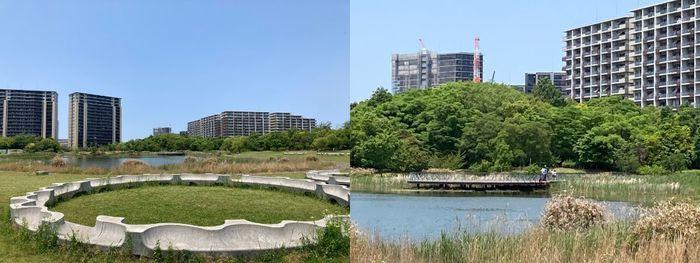 公園のモニュメントから、拡大すると湖を挟んで対岸に居る人の姿も見える