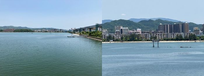 最後は橋の上から海を撮影、拡大すると中央の鳥居が見える