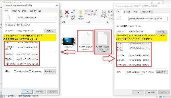 クリーンアップ前のfsaファイルがバックアップとして生成される