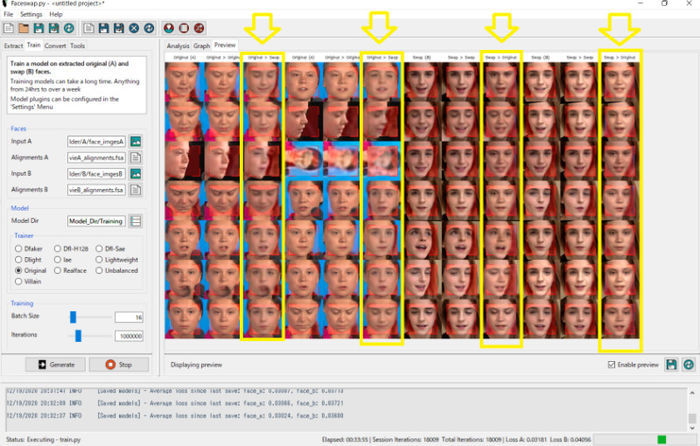 Faceswap、Train中の画面黄色い枠の列が顔交換が行われている箇所