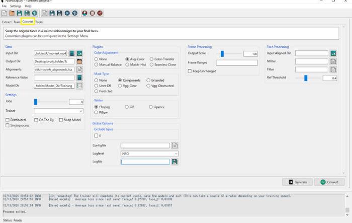 FaceswapのConvert設定画面