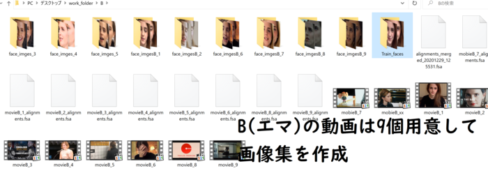 Bフォルダ内の画像、エマの動画は9つ用意してTraining_facesに厳選