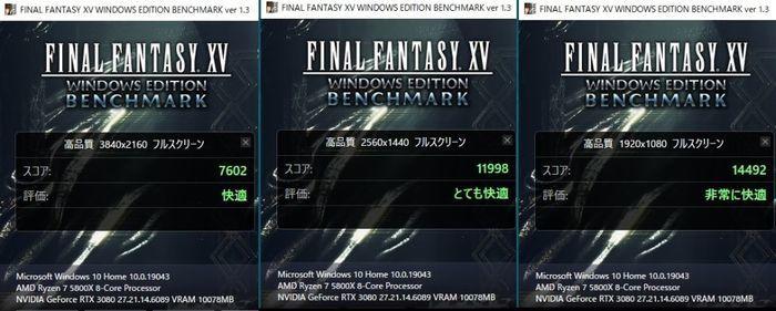 FFF15ベンチ結果,左から4K,WQHD,FHD