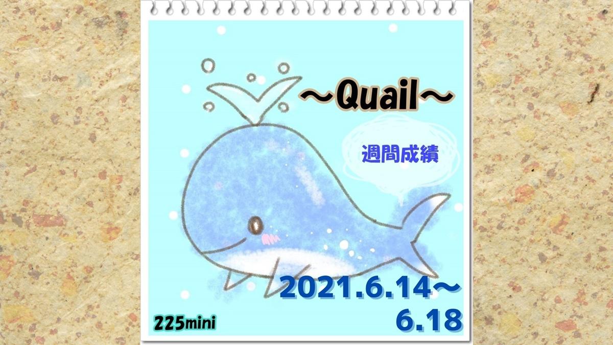 ~Quail~2021年6月14日~6月18日の週間成績