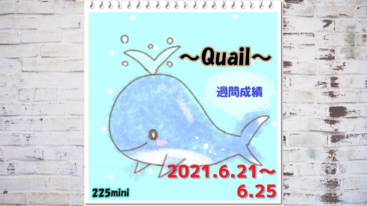 ~Quail~2021年6月21日~6月25日の週間成績