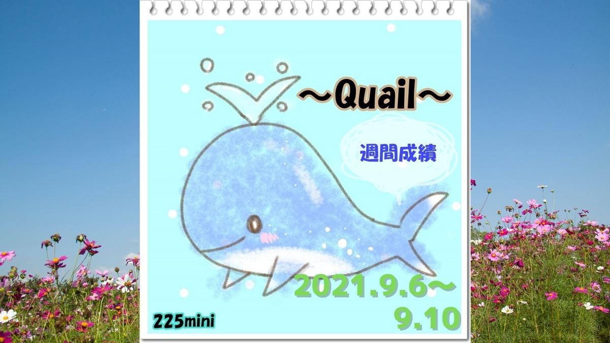 ~Quail~2021年9月6日~9月10日の週間成績