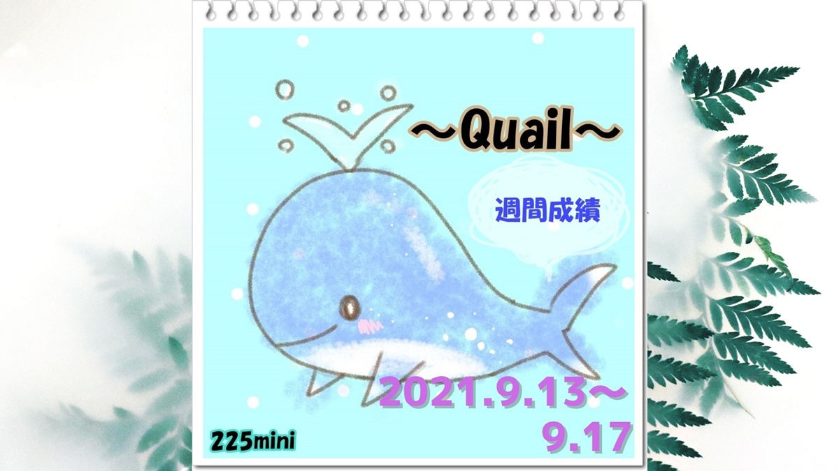 ~Quail~2021年9月13日~9月17日の週間成績