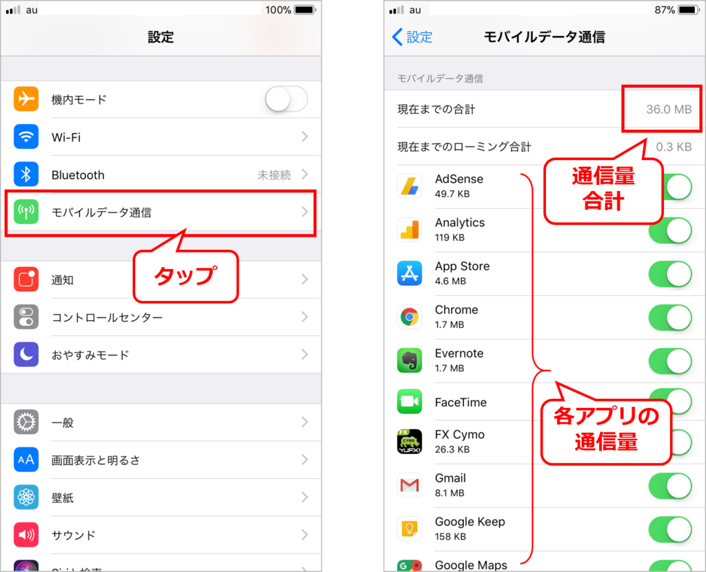 iPhone通信量調べ方