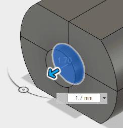 作成ドロップダウンから押し出しを選択し、1.7押し出します。