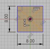 原点を選択し、マウスカーソルをずらすと寸法枠が表示されます。