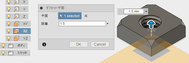 xy平面を1.5オフセットします。
