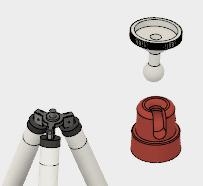 赤いスタンドと灰色のカメラ・マウントを横にドラッグします。