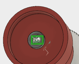 裏面のプラスネジ上の剛性ジョイントマークを選択し、Delキーを押して、ジョイントを削除します。 続いて、ねじをマウスで移動させます。