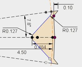 ミラーで反対側をコピーし、不要な線を作図線に変更してスケッチを確定します。