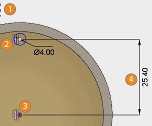 円の寸法を指定します