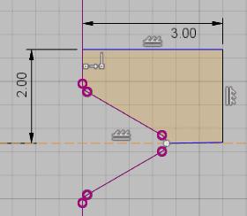 コイルの形状の端部を削除するための形状を作成するためのスケッチ