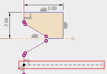 スケッチを修正して回転軸として使用する線を引きます。