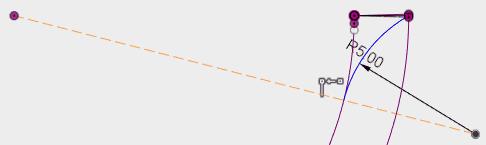 螺旋の中心と円弧の中心に作図線を引き、その線と円弧の端点と一致拘束を設定し、スケッチを終了します。