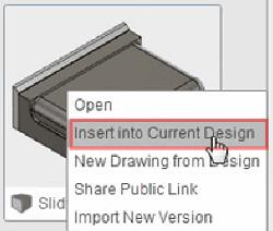 「現在のデザインに挿入」を選択することで、このサブ・アセンブリを挿入します。