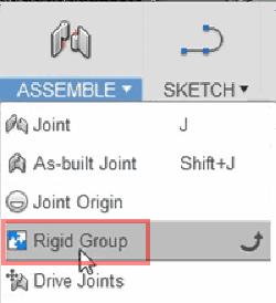 剛性グループを追加するために、「アセンブリ」ドロップダウン・メニューに移動して、「剛性グループ」コマンドを選択します。
