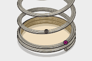 ジョイントの起点をコイルの中心に表示させるために、バネのデザインを修正します。