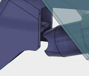 ピストンジョイントの凹みとレバーのリブが接触して欲しいのですが、 このジョイントの設定では、接触させることができません。