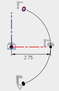 2つのコイルをつなぐ円弧を描きます。この円弧は、スイープのパスとして使用します。
