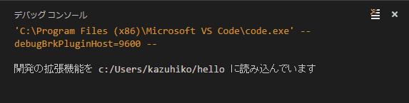 デバッグコンソール枠が表示され、もう1つ、Visual Studio Codeのウインドウが開きます。
