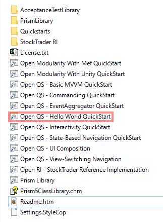 ダウンロードし、解凍したファイルの中から、「Open QS - Hello World QuickStart」を実行します。