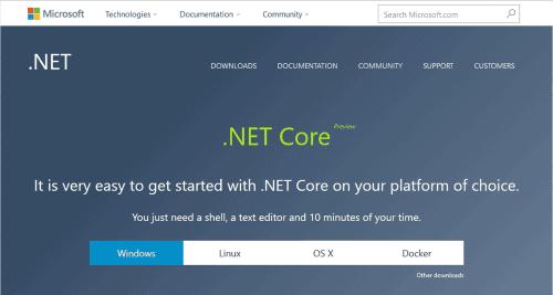 ブラウザで、.NET Coreのページが開きます。