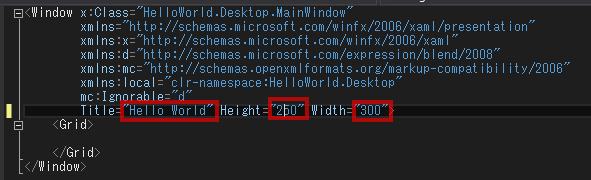 Shell.xamlを開きます。WindowタグのTitle属性をHello Worldに変更します。